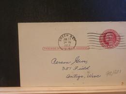 92/321 POSTAL CARD Usa  PIQUAGE VERSO 1953 - 1941-60