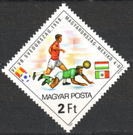 MEXICO Vs. HUNGARY Player - 1958 FIFA World Cup SWEDEN - Football Soccer / Flag - Hungary 1982 SPAIN  - Used - 1958 – Zweden