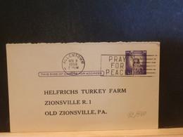 92/340  POSTAL CARD Usa  PIQUAGE VERSO 1959 - 1941-60