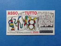 ITALIA BIGLIETTO LOTTERIA ISTANTANEA GRATTA E VINCI USATO L. 2500 ASSO PIGLIA TUTTO LOTTO 88 ITALY LOTTERY TICKET - Lottery Tickets