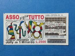 ITALIA BIGLIETTO LOTTERIA ISTANTANEA GRATTA E VINCI USATO L. 2500 ASSO PIGLIA TUTTO CON JOLLY LOTTO 90 LOTTERY TICKET - Lottery Tickets