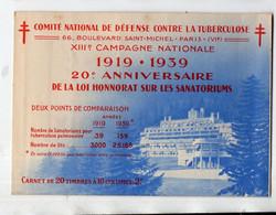 Carnet Complet Défense Contre La Tuberculose 1919-1939 (PPP26505) - Tegen Tuberculose