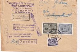 ALLEMAGNE 1940 GENERAL GOUVERNEMENT LETTRE DE KRAKAU AVEC RETOUR - Besetzungen 1938-45