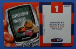 Italia Italy Tim 1€ Riscopri Le Emozioni Ferrero Rocher Mon Cheri Pocket Coffee Raffaello - Telecom Operators
