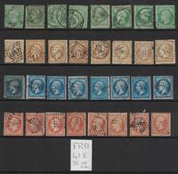 France - Yvert 20, 21, 22, 23 - 32 Oblitérés TOUS Second Choix - Scott#23, 25, 26, 27 - 32 Used Damaged Copies - 1853-1860 Napoleone III