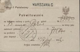 Pologne Entier Télégraphe Grand Aigle Pokwitowanie CAD Warszawa Telegraf 24 XI 1923 D + Warszawa C Inflation - Postwaardestukken