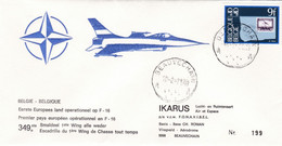 Enveloppe 1970 1er Pays Opérationnel En F16 Beauvechain Aviation Plane Airplane Aircraft Avion - Cartas