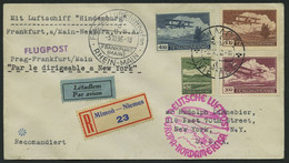 ZULEITUNGSPOST 441 BRIEF, Tschechoslowakei: 1936, 10. Nordamerikafahrt, Einschreibbrief, Pracht - Zeppelin
