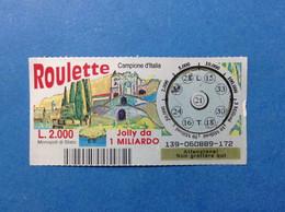 ITALIA LOTTERIA BIGLIETTO GRATTA E VINCI USATO L. 2000 ROULETTE CAMPIONE D'ITALIA LOTTO 139 ITALY LOTTERY TICKET - Billetes De Lotería