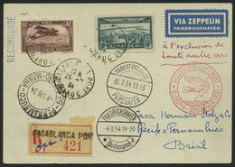 ZULEITUNGSPOST 265 BRIEF, Marokko Französisches Protektorat: 1934, 5. Südamerikafahrt, Einschreibbrief Aus CASABLANCA PO - Zeppelin
