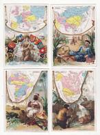 Chromo  Sans Pub    Lot De 4    Cartes Géographiques, Asie, Europe, Amérique, Afrique     11.5 X 8.3 Cm - Andere