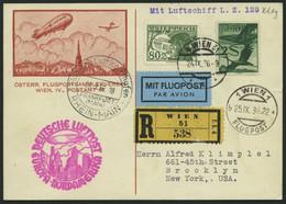 ZULEITUNGSPOST 439 BRIEF, Österreich: 1936, 9. Nordamerikafahrt, Einschreibkarte, Pracht - Zeppelin