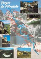 07 - Gorges De L'Ardèche - Du Pont D'Arc à Sauze - Carte Géographique - Multivues - Non Classificati