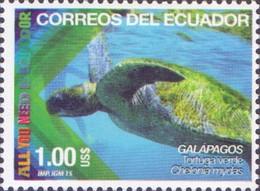 Ecuador - Green Sea Turtle (Chelonia Mydas), Stamp, MNH, 2015 - Schildkröten