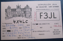 FONTAINEBLEAU QSL AMATEUR RADIO CARD F3JL 19563 FRANCE LEWUILLON JEAN GUYNEMER REHOVOT POSTCARD CARTOLINA ANSICHTSKARTE - Welt