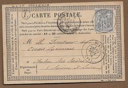 """BUXY : 1876 : Carte Postale  Avec CàD Type 17 Sur Sage 15c Gris + Boite Rurale L  """"St Vallerin""""   ( Saône Et Loire ) : - 1849-1876: Periodo Classico"""