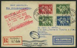 ZULEITUNGSPOST 229B BRIEF, Schweden: 1933, 6. Südamerikafahrt, Anschlussflug Ab Berlin, Einschreibbrief, Pracht - Zeppelin