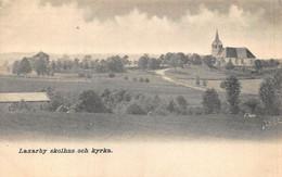 LAXARBY SWEDEN~SKOLHUS OCH KYRKA-SCHOOL & CHURCH~1900s PHOTO POSTCARD 50674 - Sweden