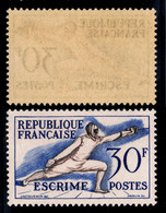 YVERT 962  N** MNH - Jeux Olympiques D'HELSINKI, ESCRIME - SCAN RECTO-VERSO = SANSURPRISE - Nuovi