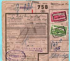 Spoorwegdoc, Afgiftepunt PONT-ROUGE (griffe) Via WARNETON / WAASTEN 15/03/1951 Naar Dendermonde - 1942-1951