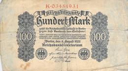 100 Mark Reichsbanknote 1922 VG/G (IV) - 100 Mark