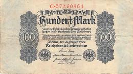 100 Mark Reichsbanknote 1922 VF/F (III) - 100 Mark