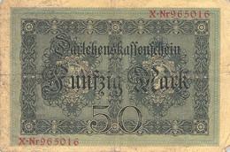 50 Mark Reichsbanknote 1914 VG/G (IV) Darlehenskassenschein - 20 Mark