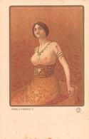 Illustrateur PAUL BERTHON - ETUDE De FEMME De FEMME (1) De La Série D'Art Avec Poudre D'Or Estampes Originales. - Berthon
