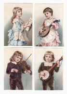 Chromo  Sans Pub    Lot De 4    Enfants Et Instruments De Musique     Petit Format   8 X 5.4 Cm - Andere