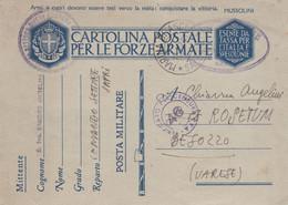 REGNO - ITALIA - FRANCHIGIA - MARINA DI ASCEA (SA) - CARTOLINA POSTALE PER LE FORZE ARMATE -VG PER BESOZZO (VA) - Franchise