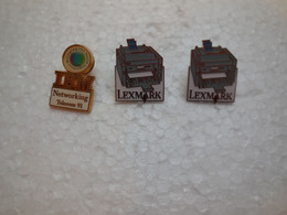 Pin's TYPE INFORMATIQUE LEXMARK ET IBM PAR AUBERT TELECOM 1991....BT16 - Informatik