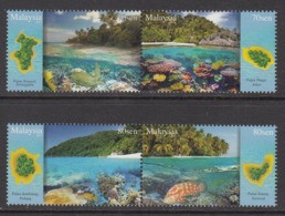 2015 Malaysia Coral Reefs Turtles Fish Marine Life Complete Set Of 2 Pairs MNH - Malaysia (1964-...)