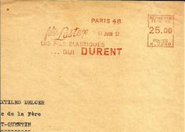 Lettre  EMA Havas K 1952 Filés Lastex Elastiques  Qui Durent Usine Metier 75 Paris C35/27 - Tessili