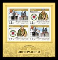 Tajikistan 2020 Mih. 969B/72B (Bl.91B) Religions Of The World. Christianity (Lutheranism). Martin Luther (imperf) MNH ** - Tajikistan