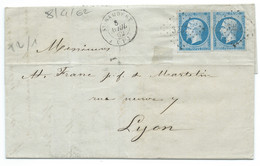 N° 14 BLEU NAPOLEON SUR LETTRE / ST RAMBERT POUR LYON / 8 AVRIL 1862 - 1849-1876: Klassik