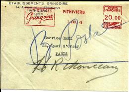 Lettre  EMA Havas K 1949 Ets Gregoire Gateaux Usine Metier 45 Pithiviers C35/42 - Alimentazione