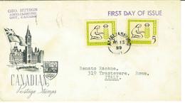 CANADA - AMELIASBURG - FDC ANNO 1959 VIAGGIATA VS ITALIA - Brieven En Documenten
