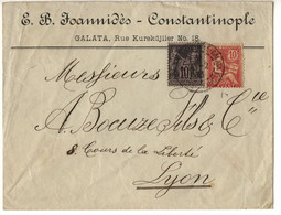 Affranchissement Mixte - Sage France 103 - Levan TN°14 - Constantinople - Galata - Poste Française- 1903 - 1877-1920: Semi Modern Period