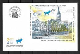 2007 Joint Romania And Luxembourg, FDC ROMANIA WITH SOUVENIR SHEET: European Culture Capital - Gemeinschaftsausgaben