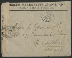 INDES NEERLANDAISES N° 109 De Medan Pour Marseille En 1916 + Censure Française Apposée à Dieppe. Voir Description - Nederlands-Indië