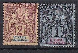 Ou027 Sainte Marie De Madagascar  2 Valeurs N - Unused Stamps