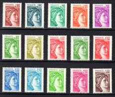 FRANCE 1977/78 - Yvert N° 1965/1979 NEUFS **/MNH, Série 15 Valeurs Variété Sans Phosphore Gomme Brillante, Signés Calves - 1977-81 Sabine Van Gandon