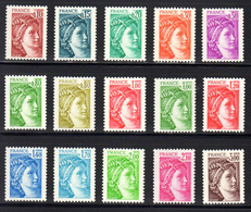 FRANCE 1977/78 - Yvert N° 1965/1979 NEUFS **/MNH, Série 15 Valeurs Variété Sans Phosphore Gomme Brillante, Signés Calves - 1977-81 Sabine (Gandon)