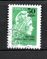 B363-1 Lettre Verte Oblitérée Marianne De Boulazac L'engagée Gravée Dans L'histoire : 50 Ans. Très Faible Tirage - Oblitérés