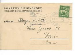 SUEDE 1922 Timbre Lion Vert 10 öre Sur Carte Postale Circulée 1922 : Bulletin De Commande Librairie BOKREVISITIONSKORT - Suecia