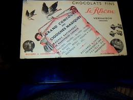 """Vieux Papier Buvard D'occasion Chocolat Fins """"Le Rhône """" à Vernaison Concours Des Ccigognes -magiques"""" - M"""