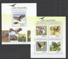 ST702 2014 GUINEE GUINEA FAUNA BIRDS FALCONS LES FAUCONS KB+BL MNH - Eagles & Birds Of Prey