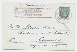 MALTA HALF PENNY POST CARD FLORIANA + GRIFFE PAQUEBOT 1907 - Malta (...-1964)