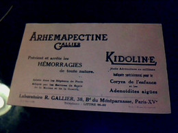 Vieux Papier Buvard Médicaments Arhemaopectine  & ,kidoline Laboratoire Gallier à Paris B.d Montparnasse - M