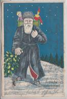 77146-  Prägedruck Ak Nikolaus Weihnachtsmann Nikolo, Krampus  Frohe Weihnachten - Sinterklaas